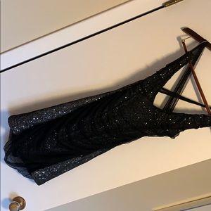 Express Black & Silver Sequin Dress
